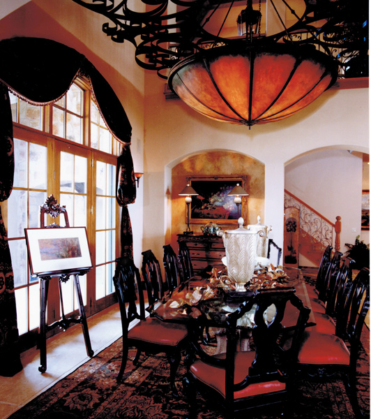 Interior design of dining room in Austin parade of homes