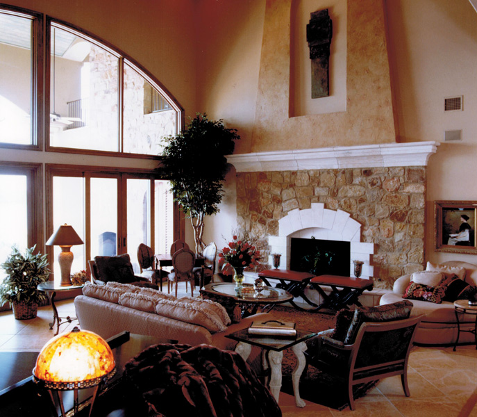 Award winning interior design for parade of homes living room with fireplace