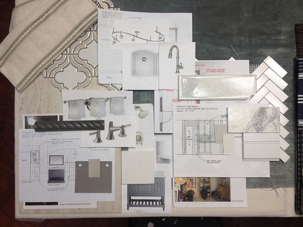 Presentation board for interior design of kitchen in austin