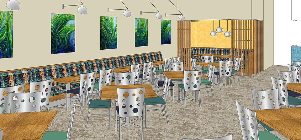 Restaurant design of the banquet area