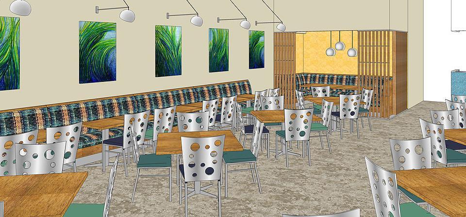 Restaurant design of the banquet area