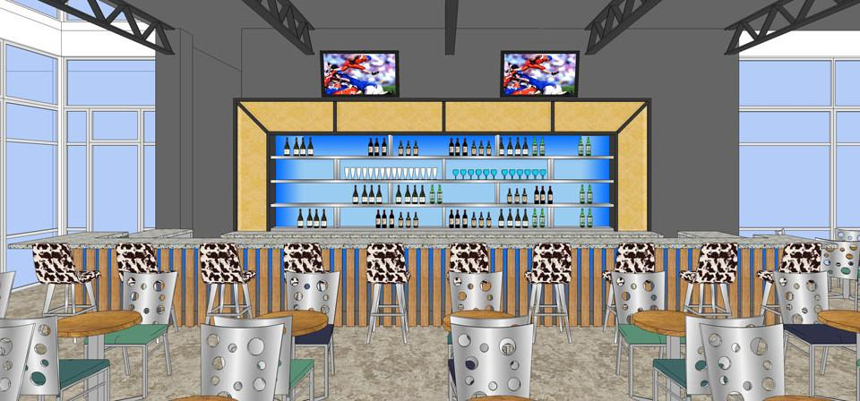 Rendering of a new restaurant bar design with tv screens