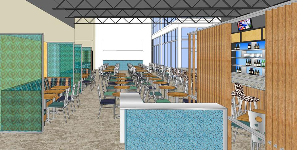 Design of a new restaurant lobby.