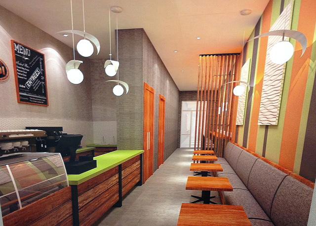 Restaurant seating and menu board